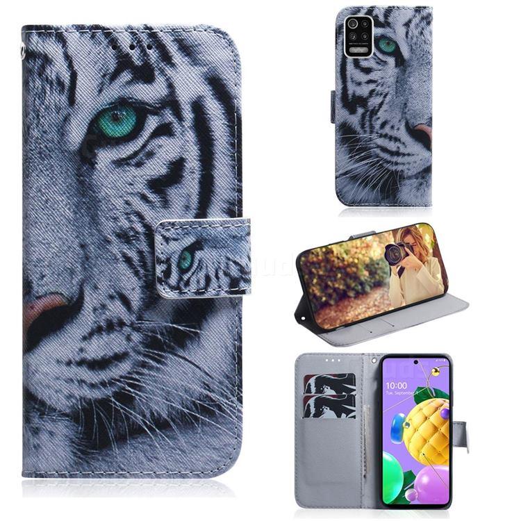 White Tiger PU Leather Wallet Case for LG K52 K62 Q52