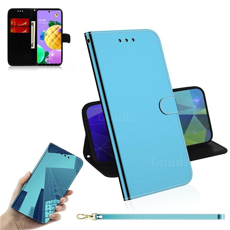 Shining Mirror Like Surface Leather Wallet Case for LG K52 K62 Q52 - Blue