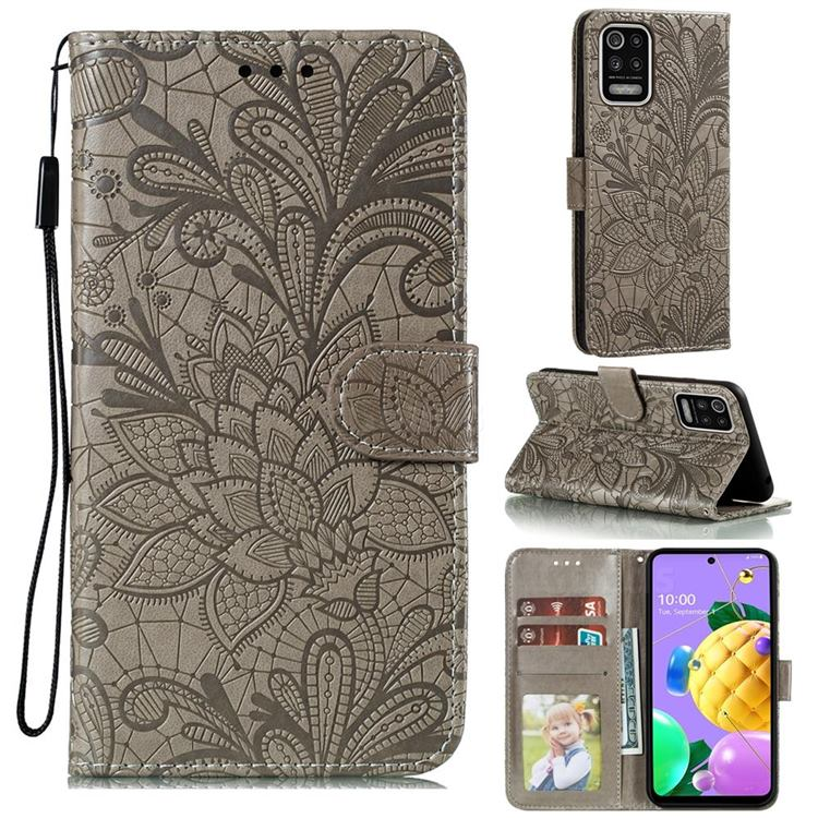 Intricate Embossing Lace Jasmine Flower Leather Wallet Case for LG K52 K62 Q52 - Gray