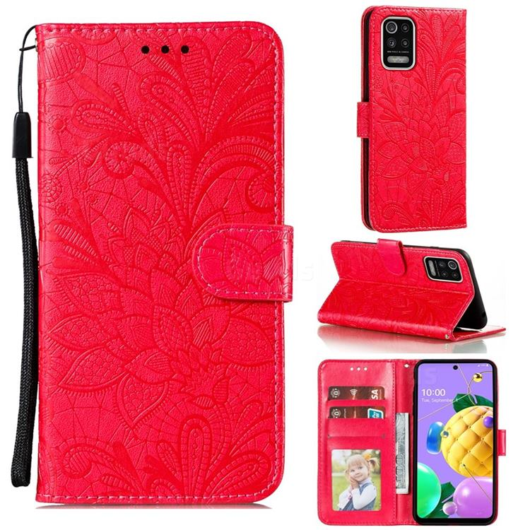 Intricate Embossing Lace Jasmine Flower Leather Wallet Case for LG K52 K62 Q52 - Red