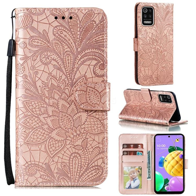Intricate Embossing Lace Jasmine Flower Leather Wallet Case for LG K52 K62 Q52 - Rose Gold