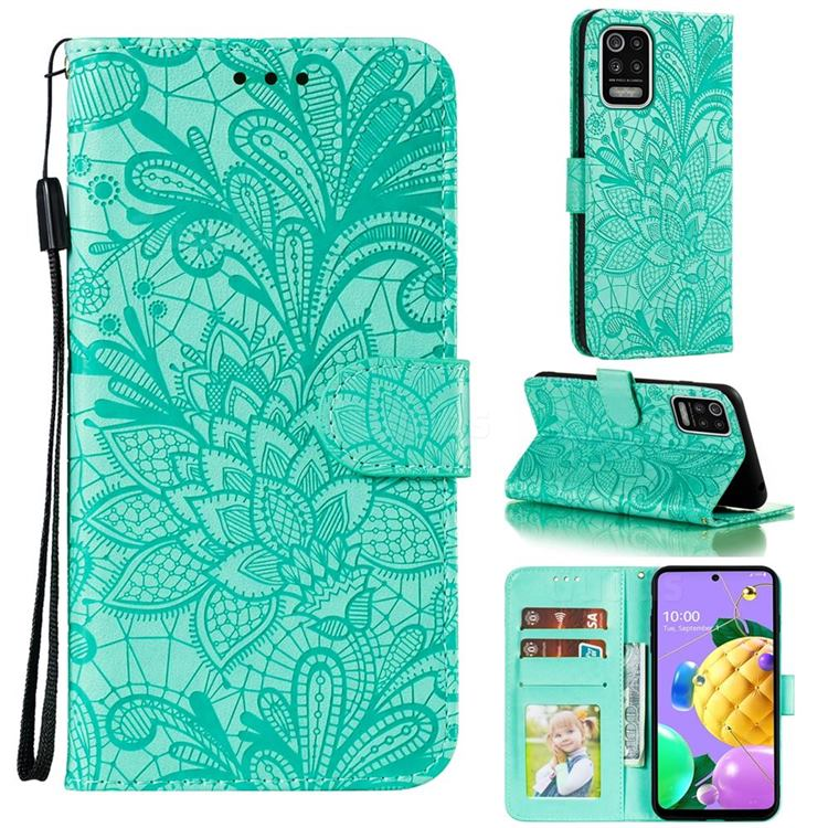 Intricate Embossing Lace Jasmine Flower Leather Wallet Case for LG K52 K62 Q52 - Green