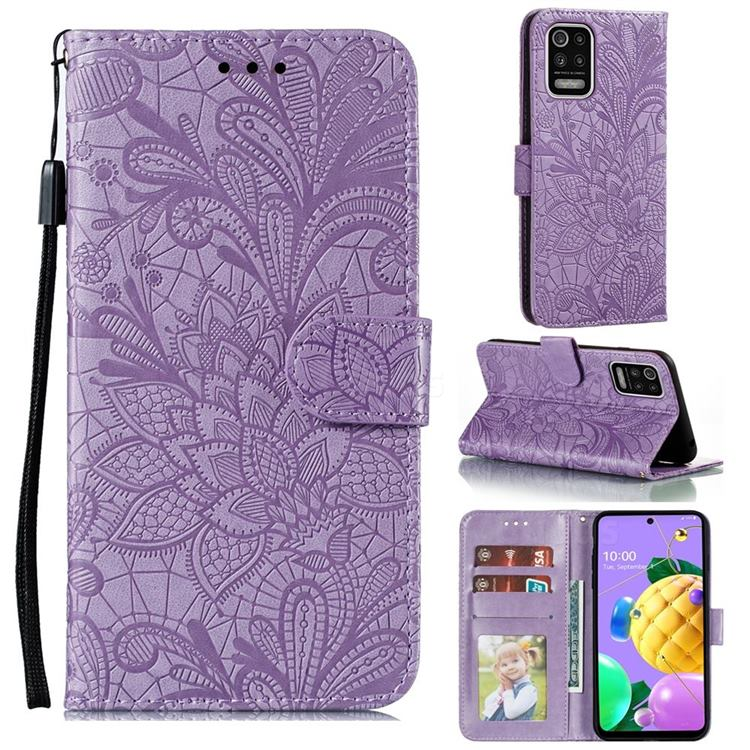 Intricate Embossing Lace Jasmine Flower Leather Wallet Case for LG K52 K62 Q52 - Purple