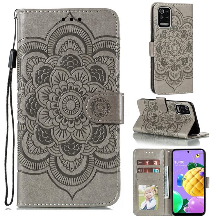 Intricate Embossing Datura Solar Leather Wallet Case for LG K52 K62 Q52 - Gray