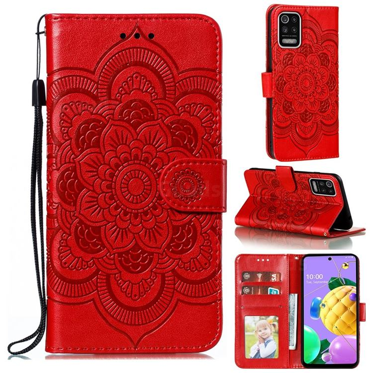 Intricate Embossing Datura Solar Leather Wallet Case for LG K52 K62 Q52 - Red