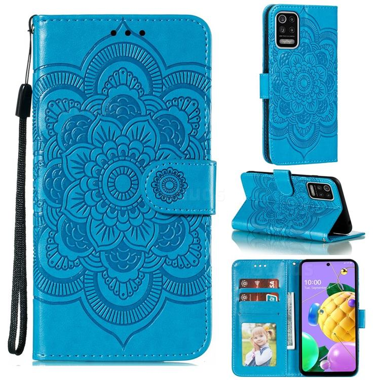 Intricate Embossing Datura Solar Leather Wallet Case for LG K52 K62 Q52 - Blue