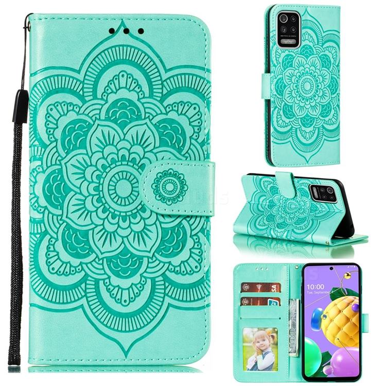 Intricate Embossing Datura Solar Leather Wallet Case for LG K52 K62 Q52 - Green