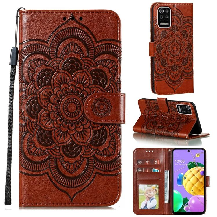 Intricate Embossing Datura Solar Leather Wallet Case for LG K52 K62 Q52 - Brown