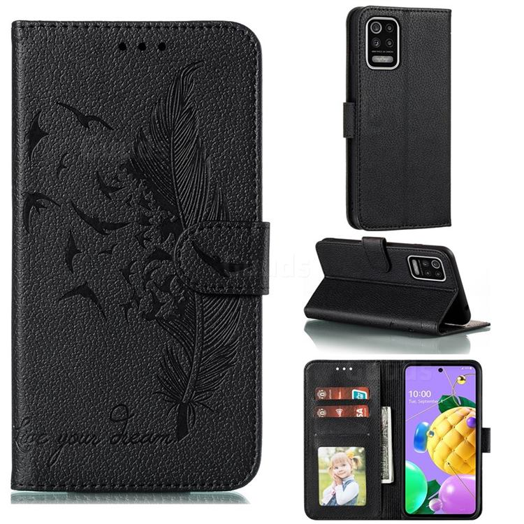 Intricate Embossing Lychee Feather Bird Leather Wallet Case for LG K52 K62 Q52 - Black