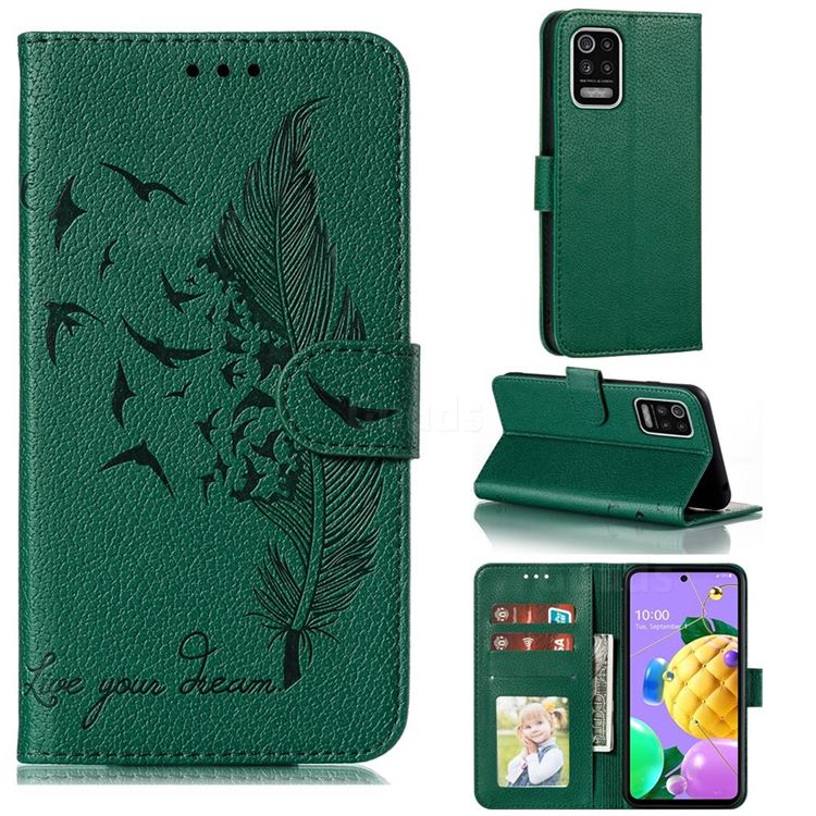 Intricate Embossing Lychee Feather Bird Leather Wallet Case for LG K52 K62 Q52 - Green