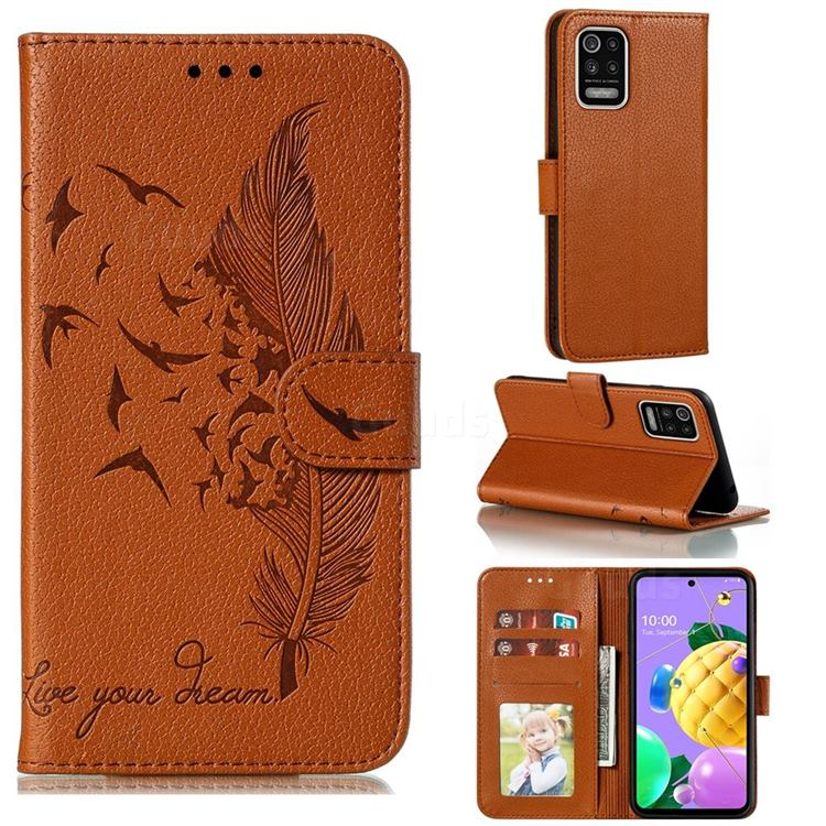 Intricate Embossing Lychee Feather Bird Leather Wallet Case for LG K52 K62 Q52 - Brown