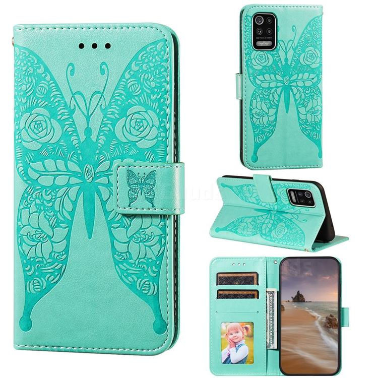 Intricate Embossing Rose Flower Butterfly Leather Wallet Case for LG K52 K62 Q52 - Green