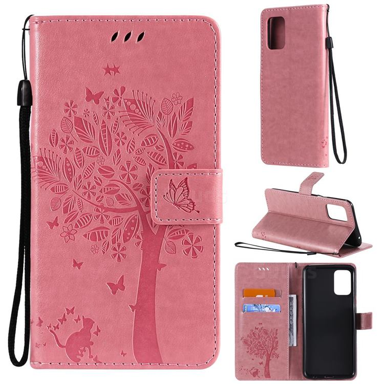 Embossing Butterfly Tree Leather Wallet Case for LG K52 K62 Q52 - Pink