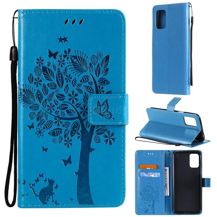 Embossing Butterfly Tree Leather Wallet Case for LG K52 K62 Q52 - Blue
