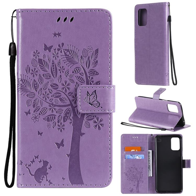 Embossing Butterfly Tree Leather Wallet Case for LG K52 K62 Q52 - Violet