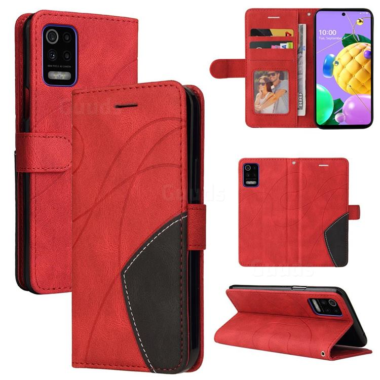 Luxury Two-color Stitching Leather Wallet Case Cover for LG K52 K62 Q52 - Red