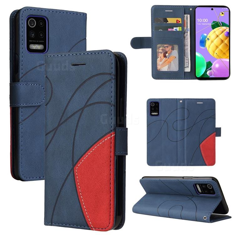 Luxury Two-color Stitching Leather Wallet Case Cover for LG K52 K62 Q52 - Blue