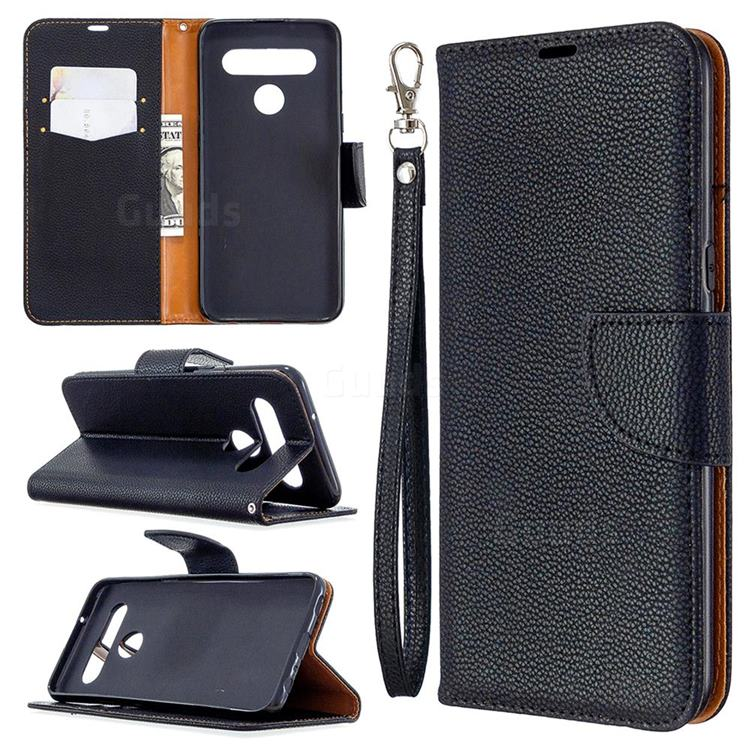 Classic Luxury Litchi Leather Phone Wallet Case for LG K61 - Black