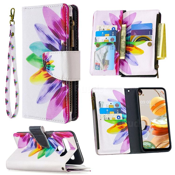 Seven-color Flowers Binfen Color BF03 Retro Zipper Leather Wallet Phone Case for LG K61