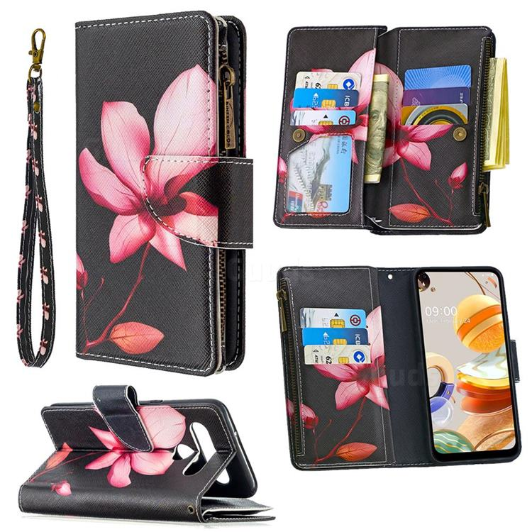 Lotus Flower Binfen Color BF03 Retro Zipper Leather Wallet Phone Case for LG K61