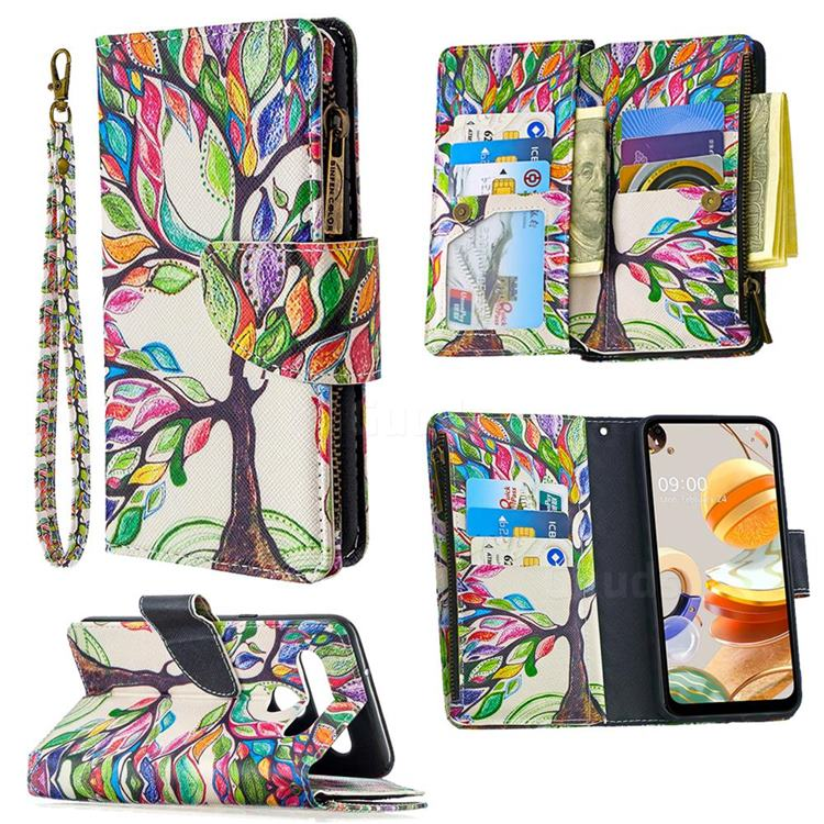 The Tree of Life Binfen Color BF03 Retro Zipper Leather Wallet Phone Case for LG K61