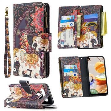 Totem Flower Elephant Binfen Color BF03 Retro Zipper Leather Wallet Phone Case for LG K61