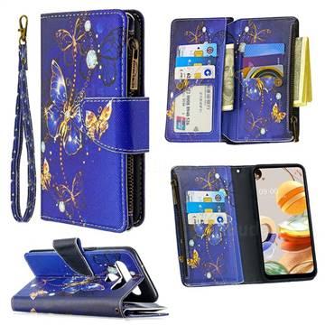 Purple Butterfly Binfen Color BF03 Retro Zipper Leather Wallet Phone Case for LG K61