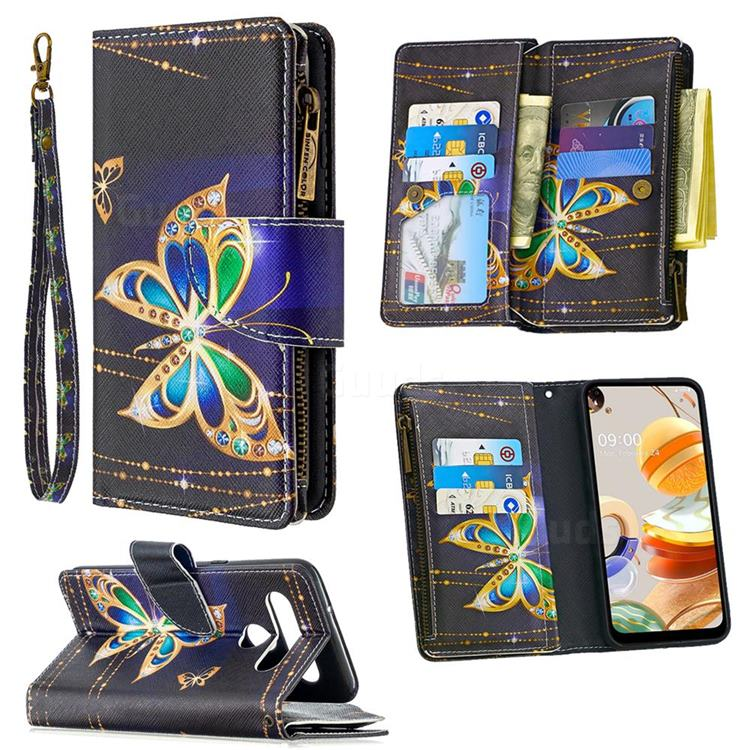 Golden Shining Butterfly Binfen Color BF03 Retro Zipper Leather Wallet Phone Case for LG K61