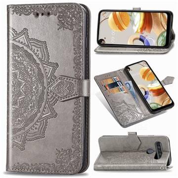 Embossing Imprint Mandala Flower Leather Wallet Case for LG K61 - Gray