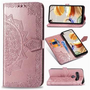 Embossing Imprint Mandala Flower Leather Wallet Case for LG K61 - Rose Gold
