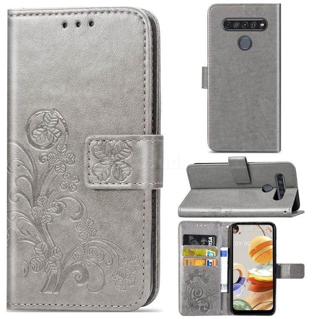 Embossing Imprint Four-Leaf Clover Leather Wallet Case for LG K61 - Grey