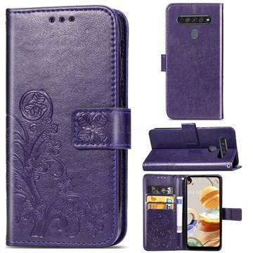 Embossing Imprint Four-Leaf Clover Leather Wallet Case for LG K61 - Purple
