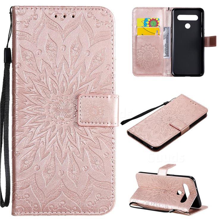 Embossing Sunflower Leather Wallet Case for LG K61 - Rose Gold