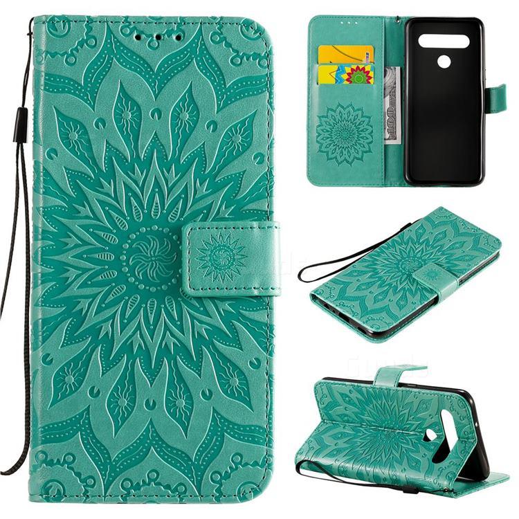 Embossing Sunflower Leather Wallet Case for LG K61 - Green