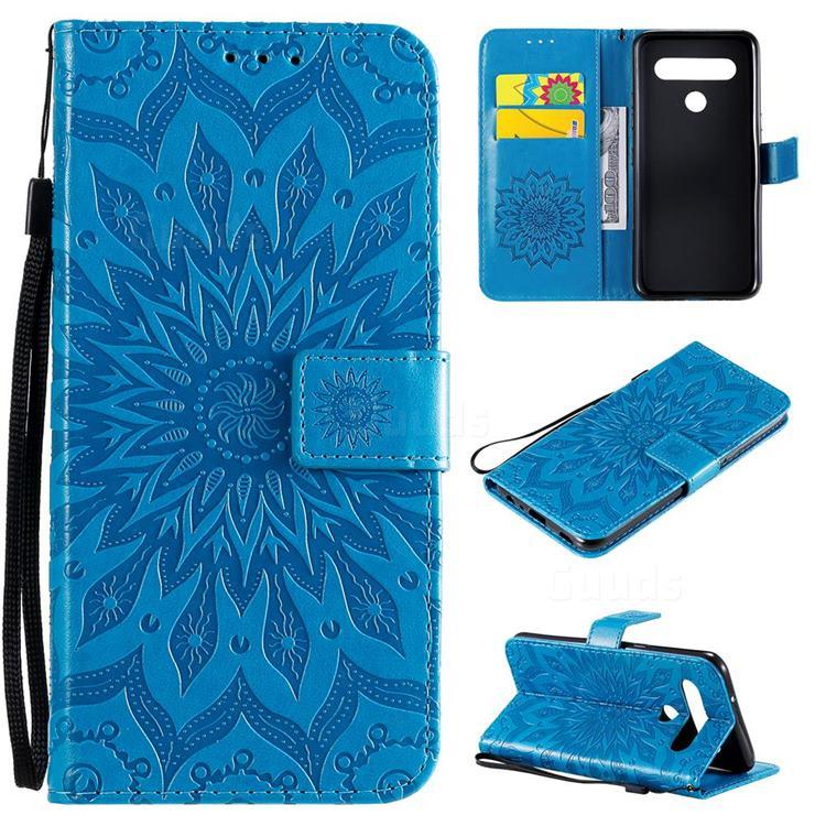 Embossing Sunflower Leather Wallet Case for LG K61 - Blue