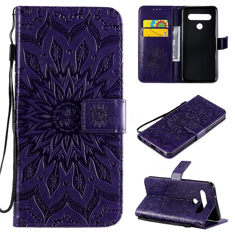 Embossing Sunflower Leather Wallet Case for LG K61 - Purple