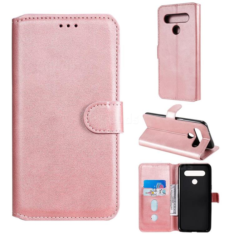 Retro Calf Matte Leather Wallet Phone Case for LG K61 - Pink