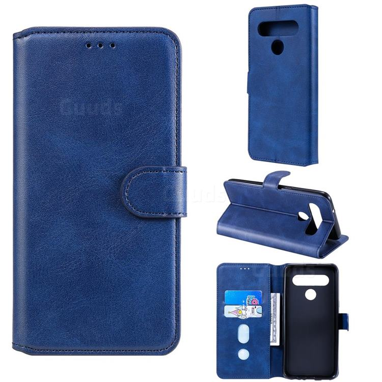 Retro Calf Matte Leather Wallet Phone Case for LG K61 - Blue