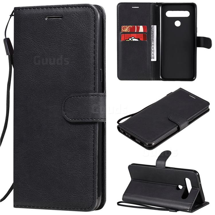 Retro Greek Classic Smooth PU Leather Wallet Phone Case for LG K61 - Black
