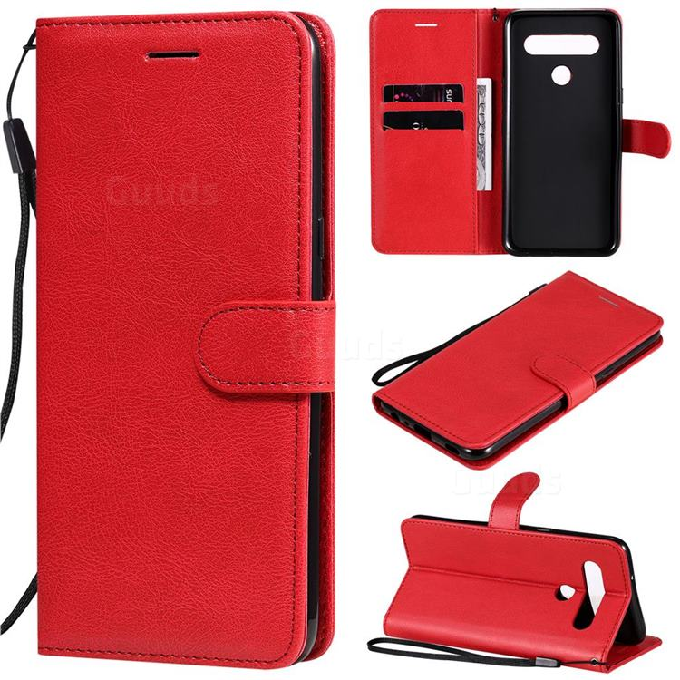 Retro Greek Classic Smooth PU Leather Wallet Phone Case for LG K61 - Red