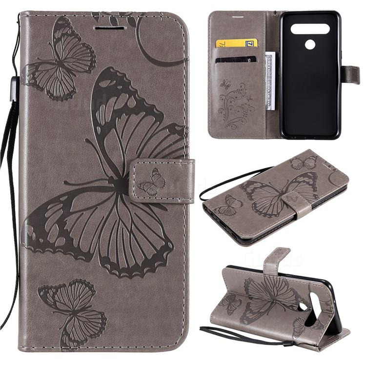 Embossing 3D Butterfly Leather Wallet Case for LG K61 - Gray