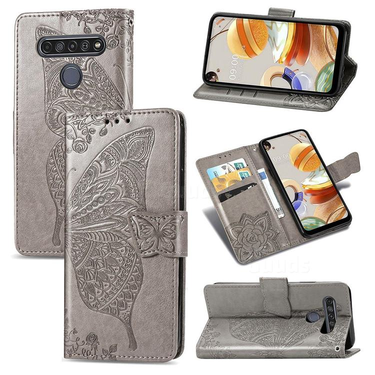 Embossing Mandala Flower Butterfly Leather Wallet Case for LG K61 - Gray