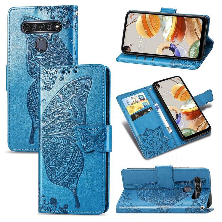 Embossing Mandala Flower Butterfly Leather Wallet Case for LG K61 - Blue
