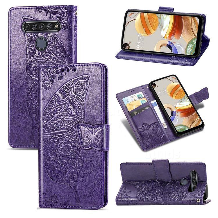 Embossing Mandala Flower Butterfly Leather Wallet Case for LG K61 - Dark Purple