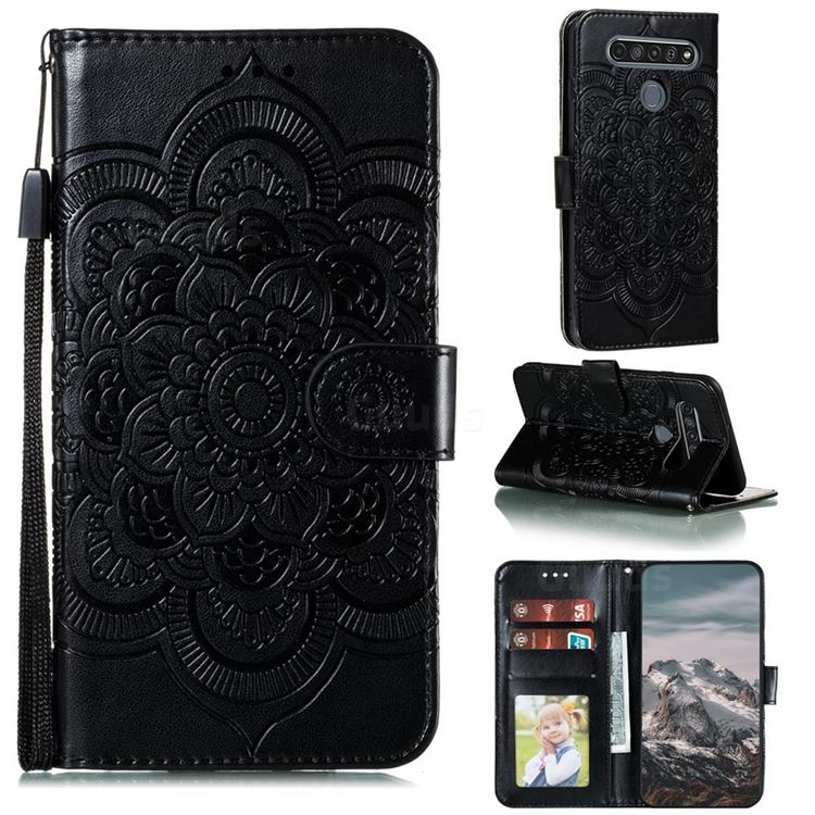 Intricate Embossing Datura Solar Leather Wallet Case for LG K61 - Black