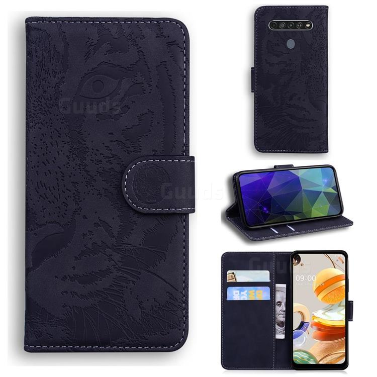 Intricate Embossing Tiger Face Leather Wallet Case for LG K61 - Black