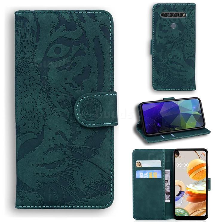 Intricate Embossing Tiger Face Leather Wallet Case for LG K61 - Green
