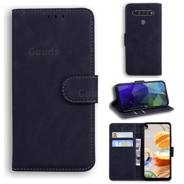 Retro Classic Skin Feel Leather Wallet Phone Case for LG K61 - Black