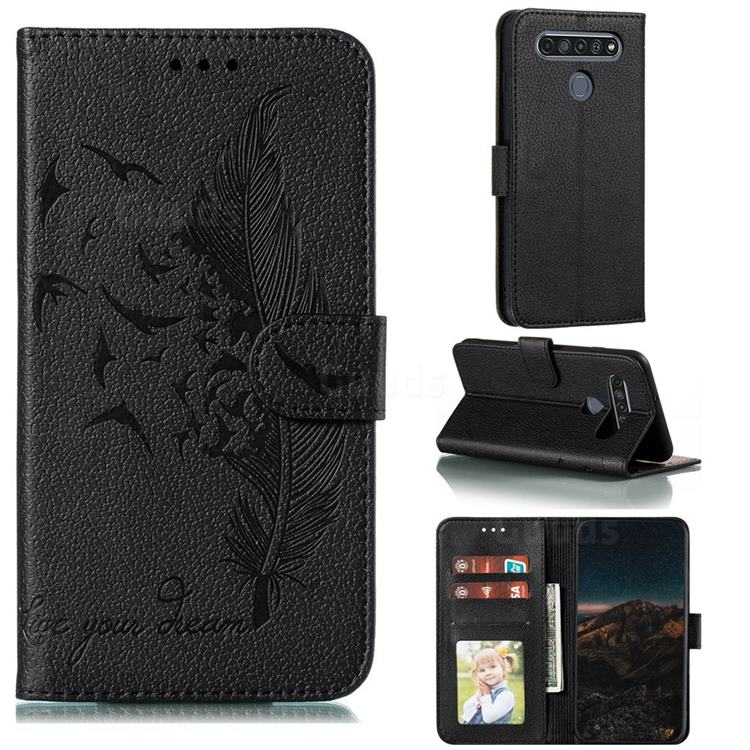 Intricate Embossing Lychee Feather Bird Leather Wallet Case for LG K61 - Black