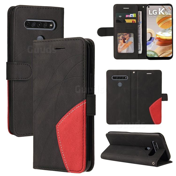 Luxury Two-color Stitching Leather Wallet Case Cover for LG K61 - Black